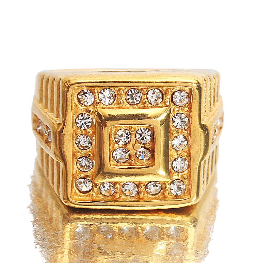 Gold Steel Studded Ring