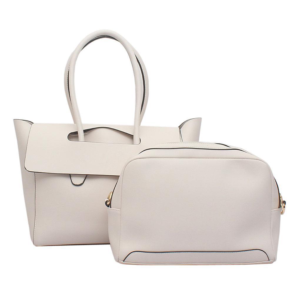 London Style White Leather Handbag