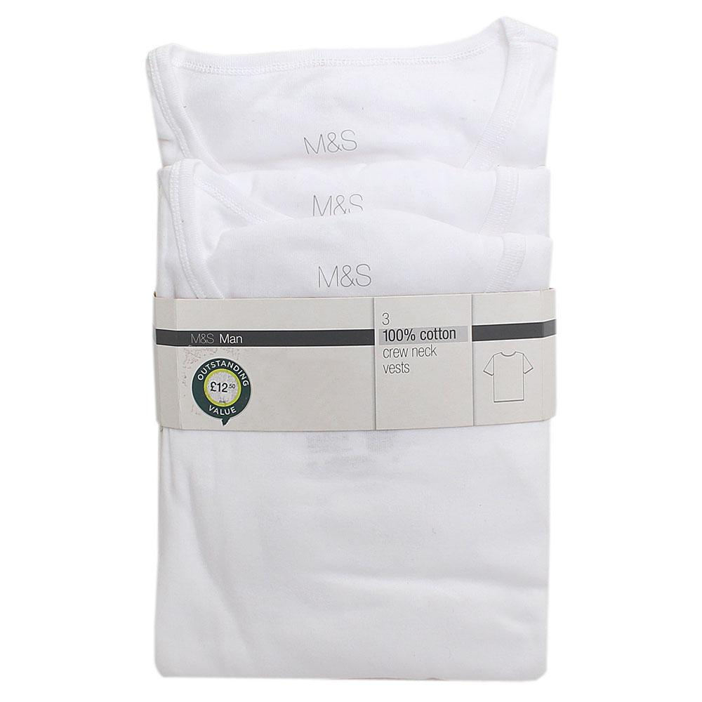 M&S White Cotton Men Vests 3 pairs