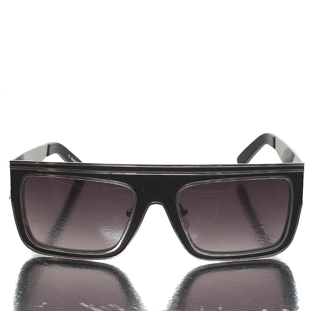 Silver Black Wrap Dark Lens Sunglasses