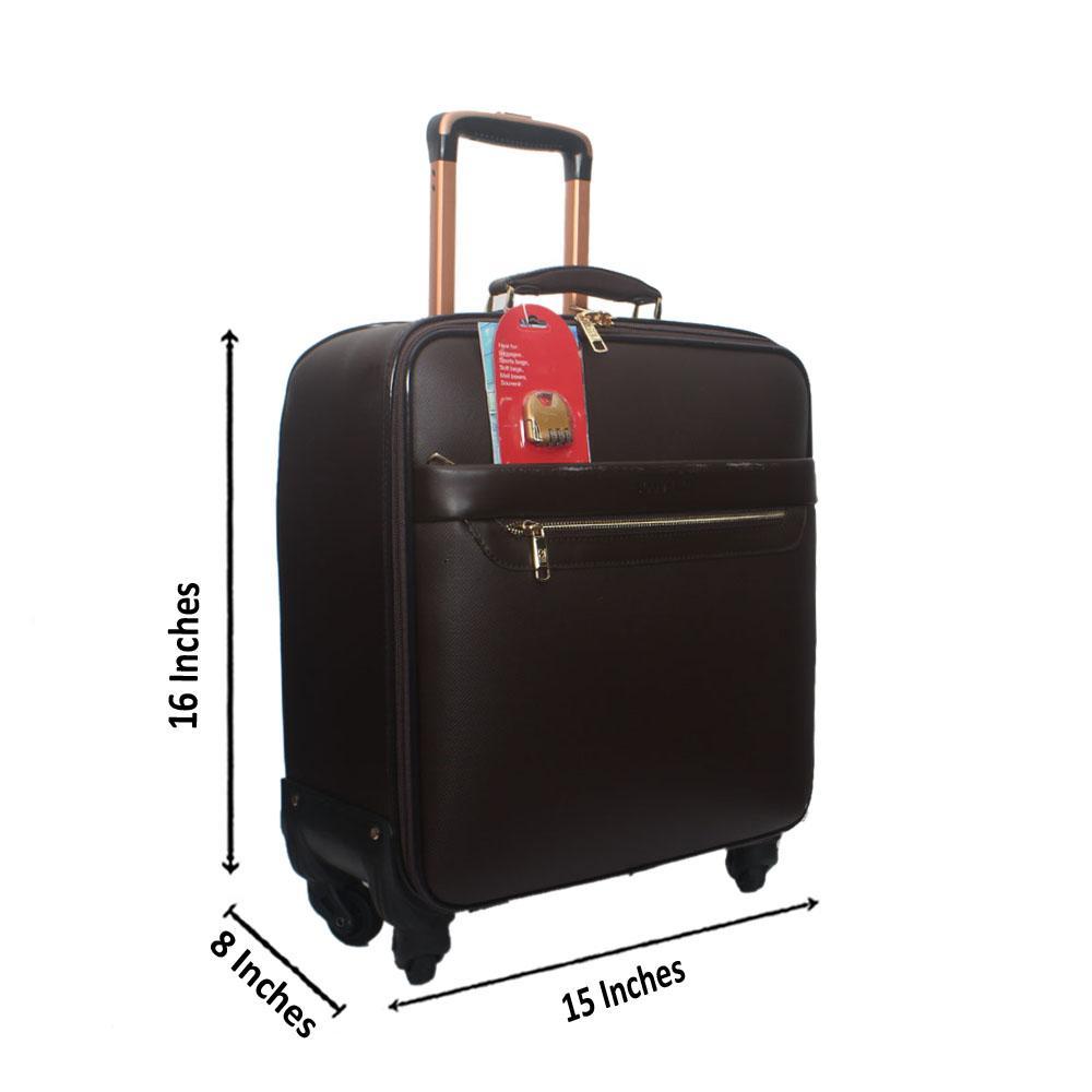 Coffee Leather Pilot Suitcase Wt Lock