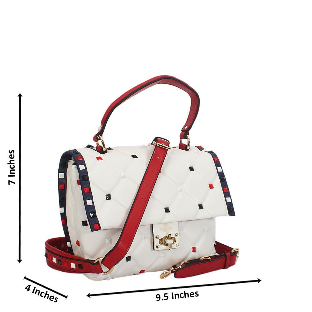 Jadyn White Studded Montana Leather Small Top Handle Bag