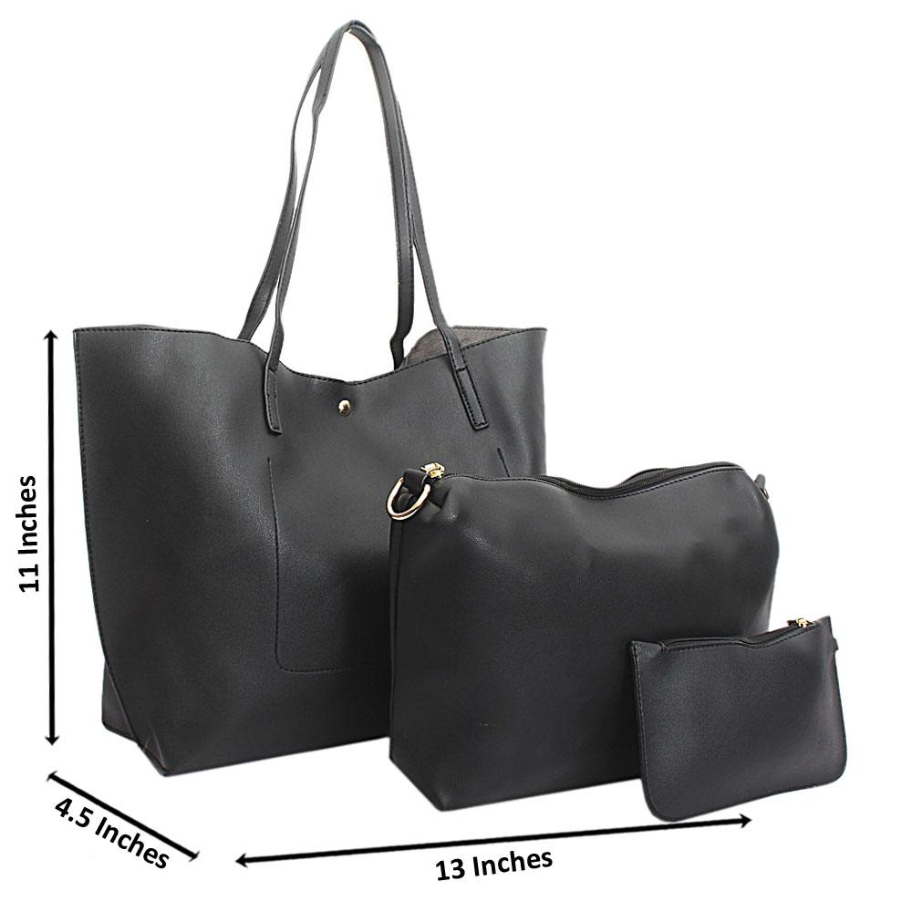 Black Leather 3 in 1 Handbag
