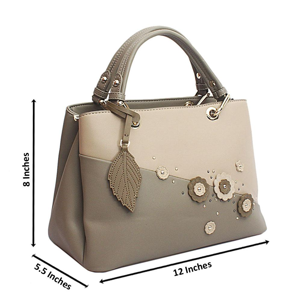 Susen Light Green Floral Studded Leather Handbag