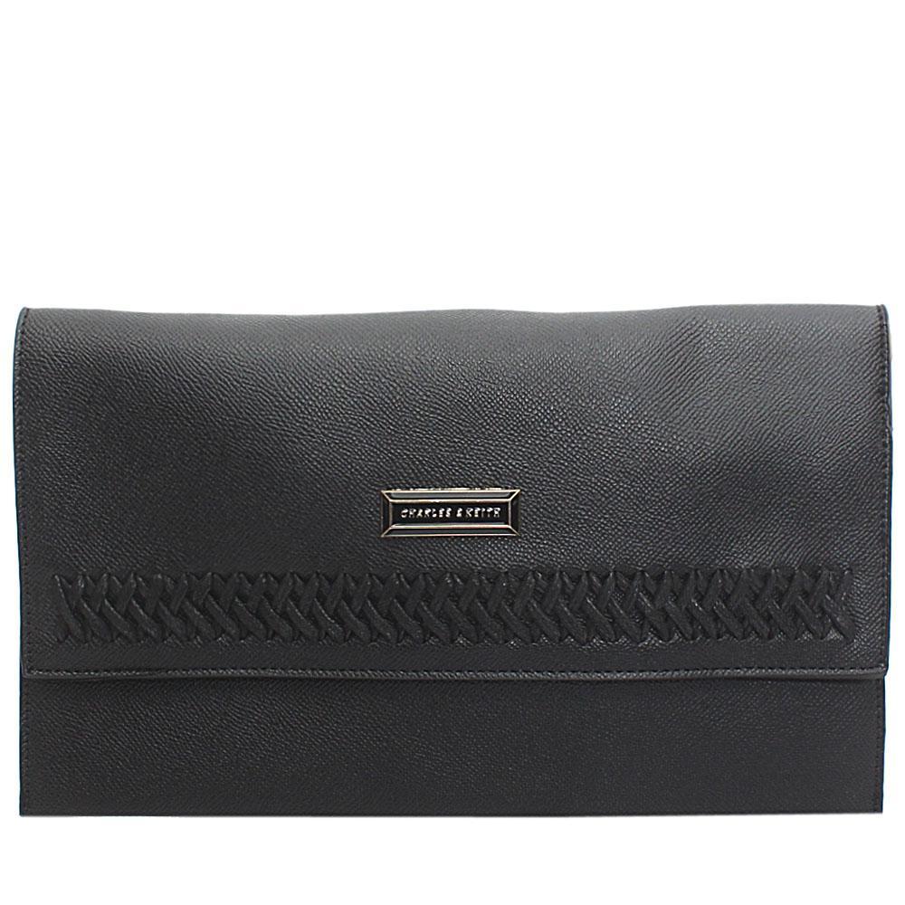 Black Threaded Leather Flat Purse