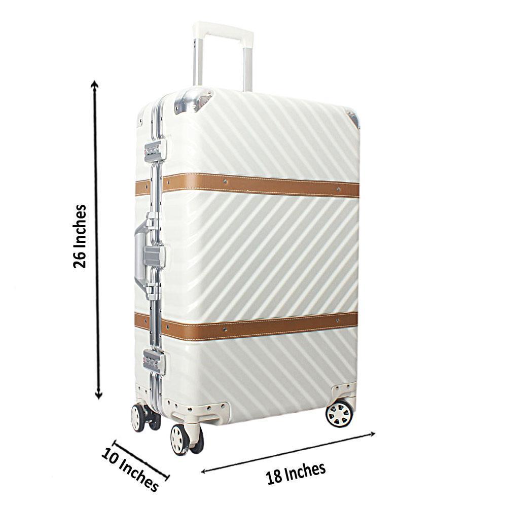 Pearl White 26 Inch Hardshell Medium Suitcase Wt TSA Lock