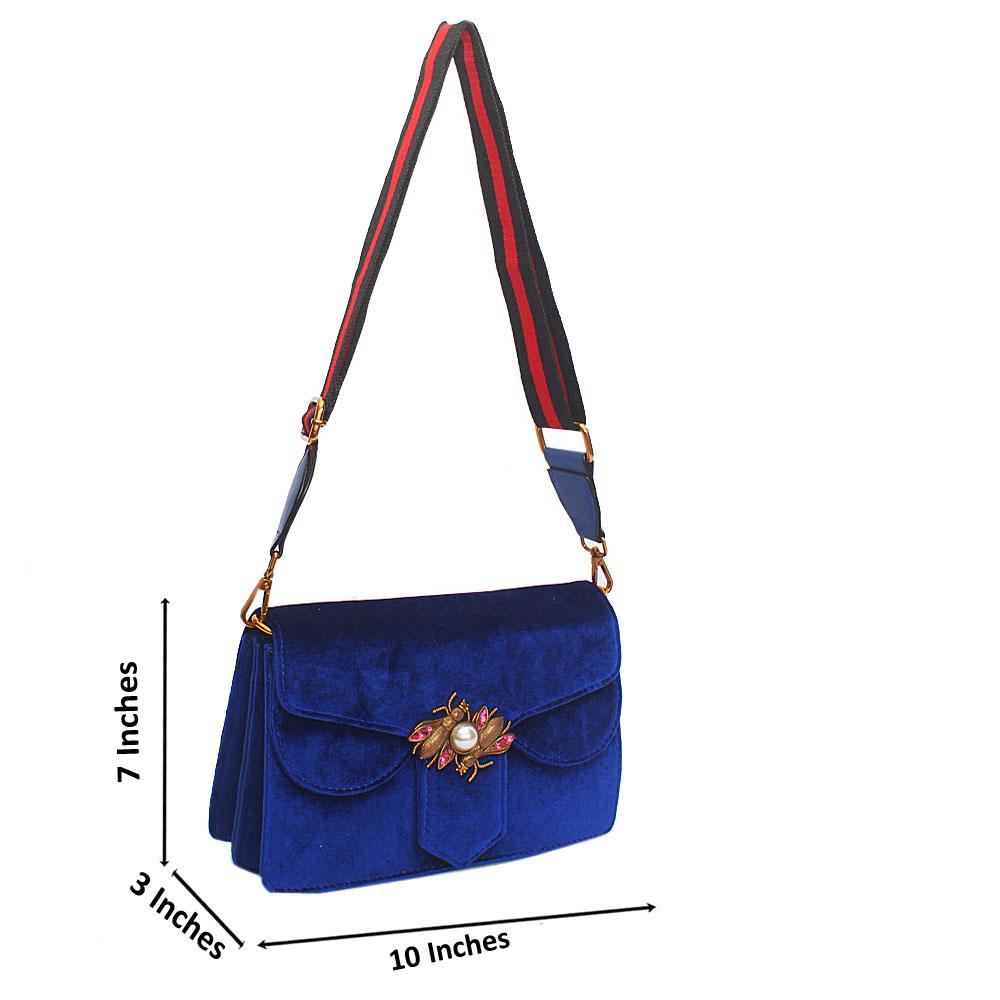 Blue Hallie Corduroy Fabric Crossbody Handbag
