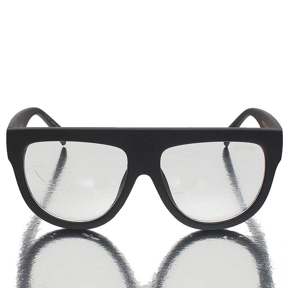 Mid Night Black Oblong Clear Lens Glasses