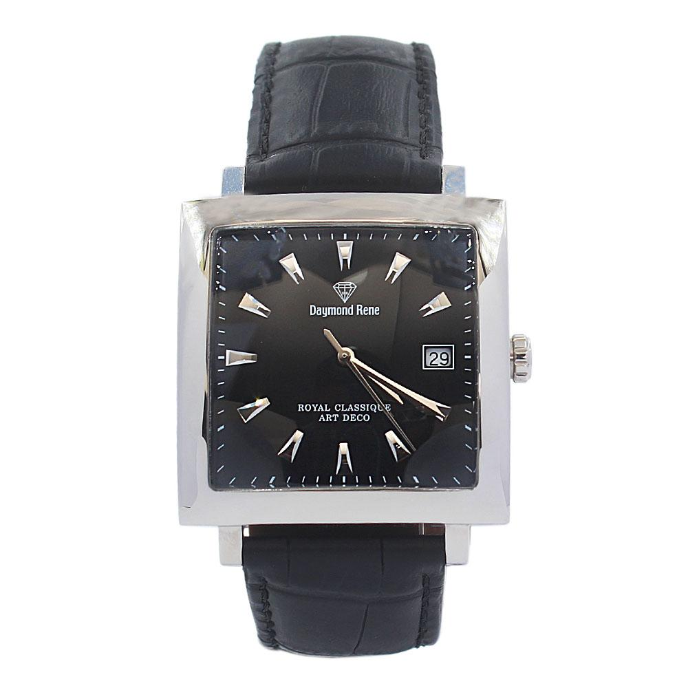 DR Black Silver Leather Flat Watch