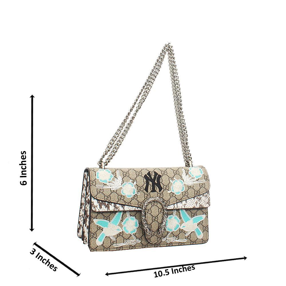 Brown-Mix Pattern Saffiano Leather Chain Crossbody Handbag