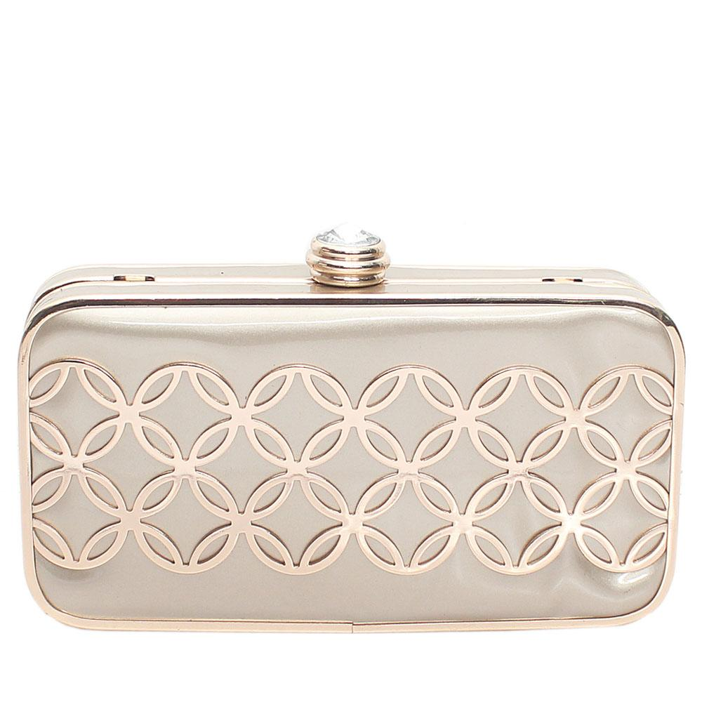 Gold Leather Hard Clutch Purse