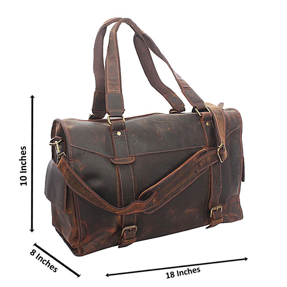 Brown Cowhide Side Pocket Leather Duffel Bag