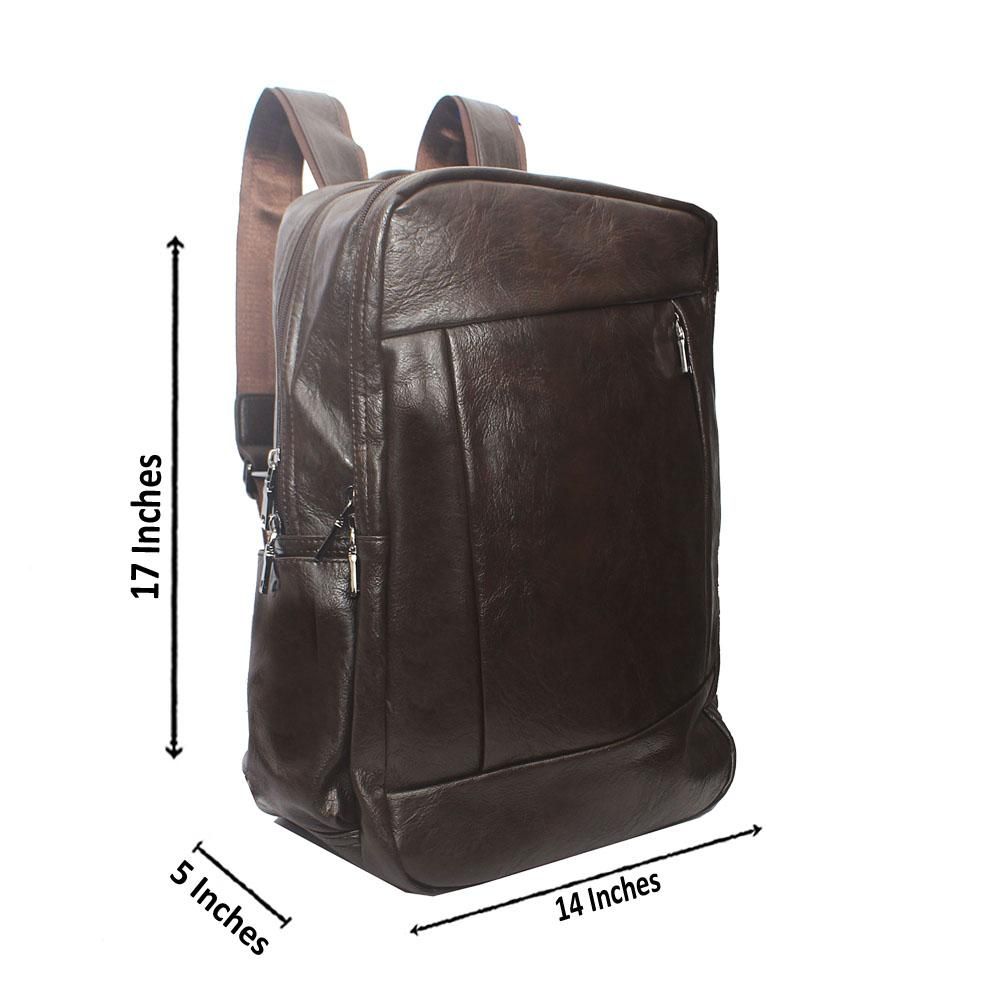 Casania Coffee Side Zip Leather Backpack