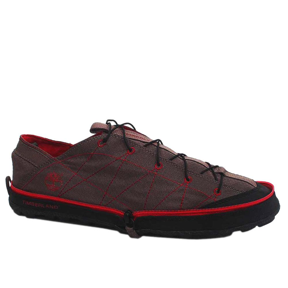 Timberland Brown/Red Fabric Foldable Sneakers Sz 44
