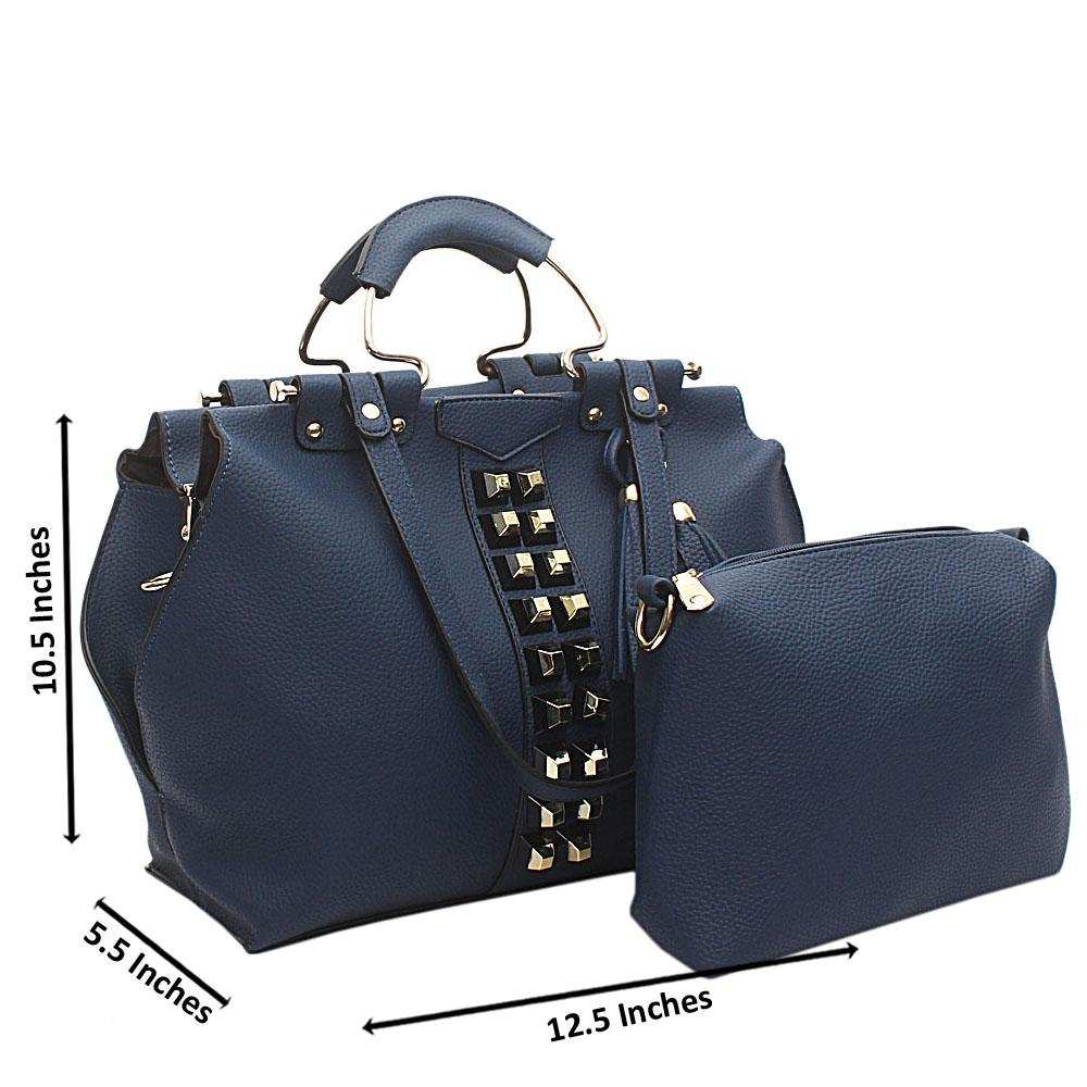 Navy-Blue-Studded-Leather-Shoulder-Bag-Wt-Purse