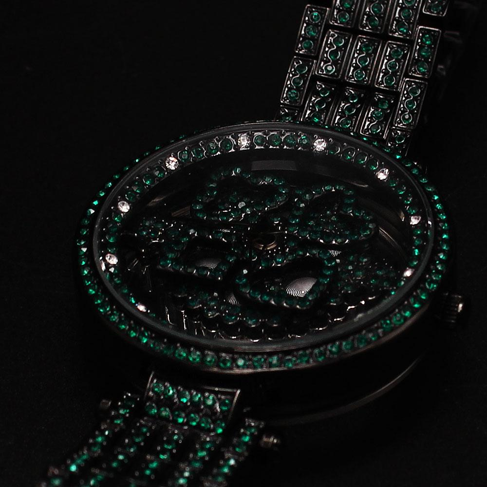 Davinchi Crystals Studded Green Skeletal Big Spinner Watch