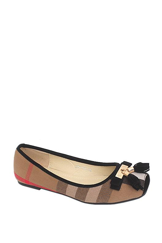 Burberry Brown Fabric Flat Shoe