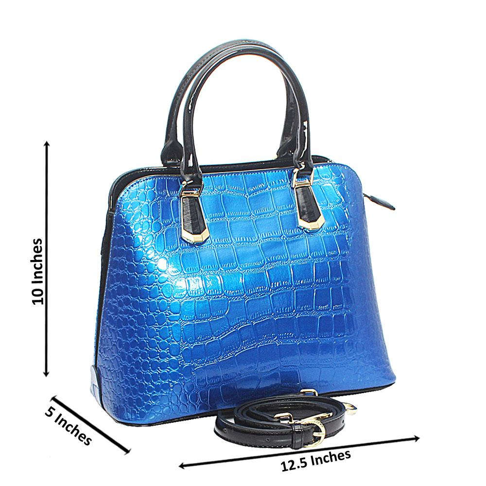 Baizili Patent Blue Croc Style Italian Leather Handbag