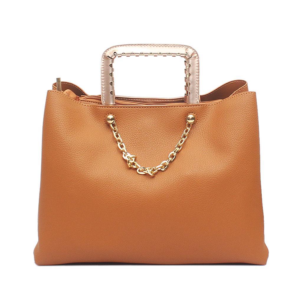 London  Style Brown Leather Handbag