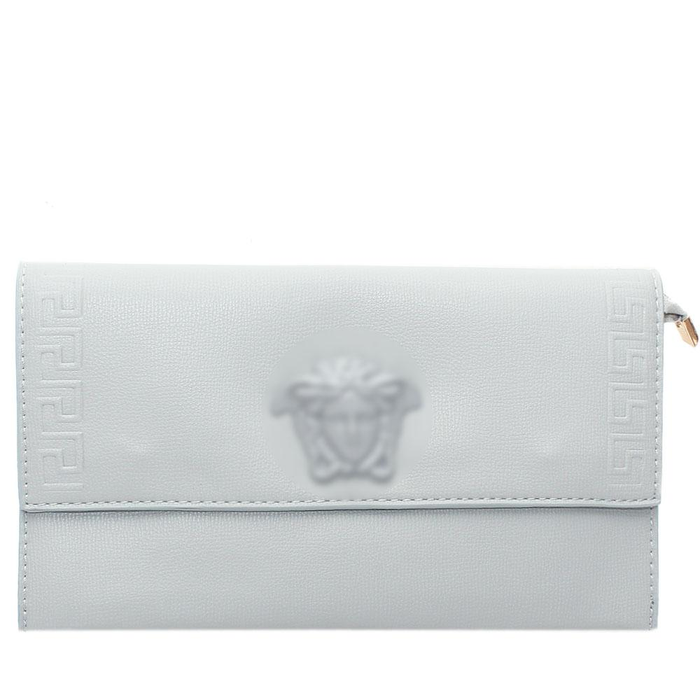 Grey Adoline Embossed Leather Flat Purse