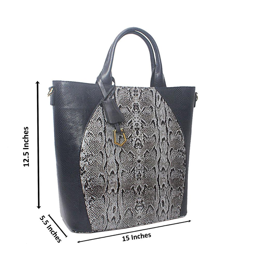 Meliana Navy Gray Narrow Snake Montana Leather Tote Handbag