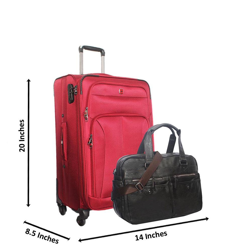 Saint Red 20 Inch Fabric 4 Wheels Spinners Carry On Luggage  wt FREE Bag