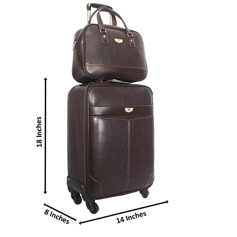Brown Montego  Leather 20 Inch Carry On Luggage wt Brown Travel Bag
