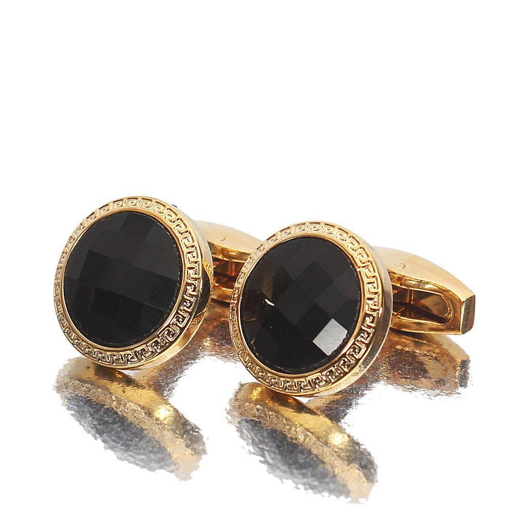 Gold Black Ceramic Stainless Steel Cufflinks