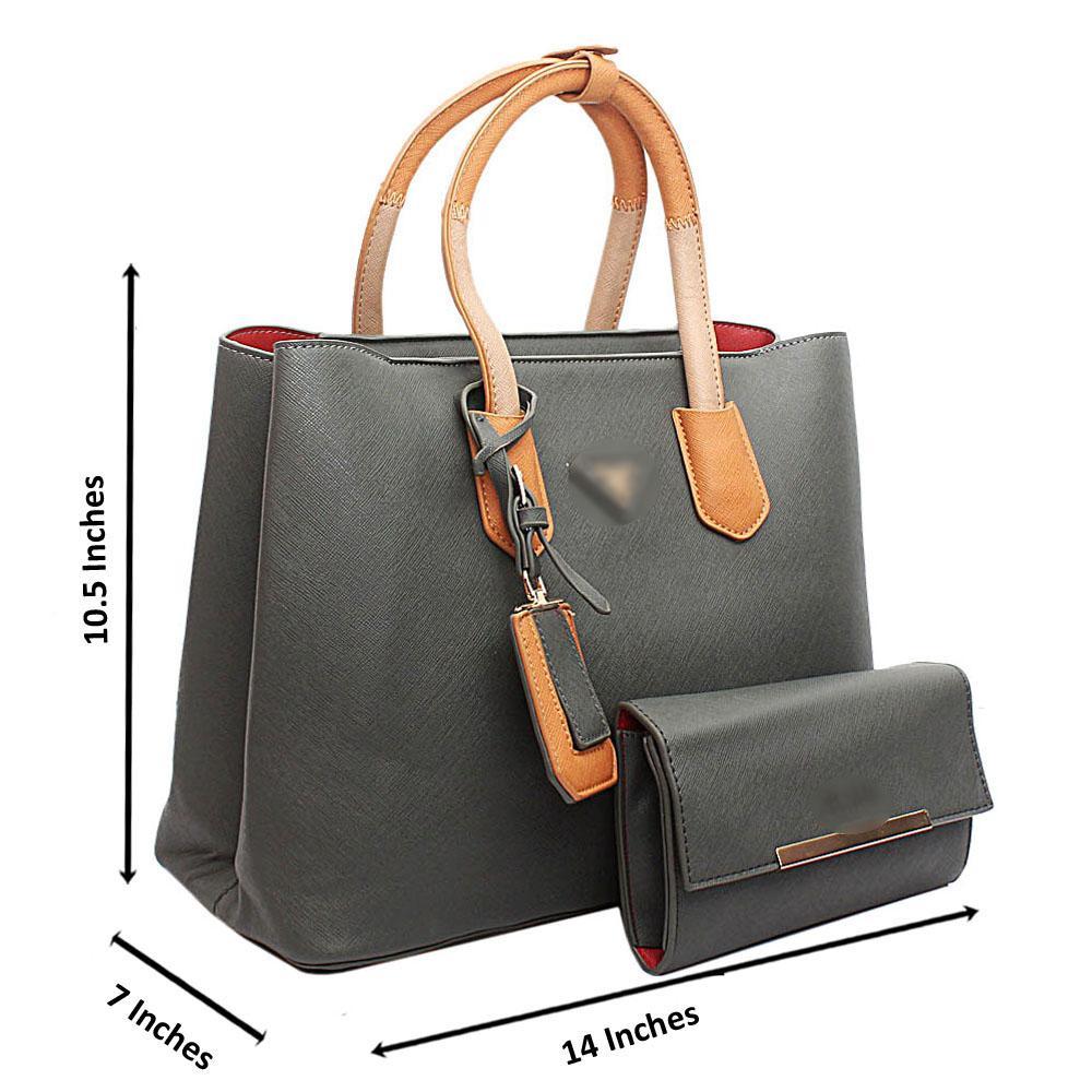 Grey Mix Large Handbag wt Purse