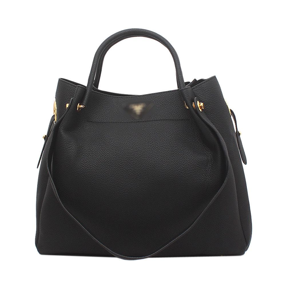 Black Saffiano Leather Handbag Wt Inner Purse