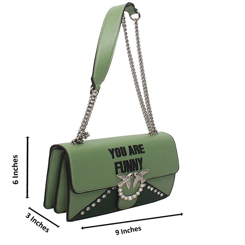 Green Meliane Calfskin Leather Crossbody Handbag