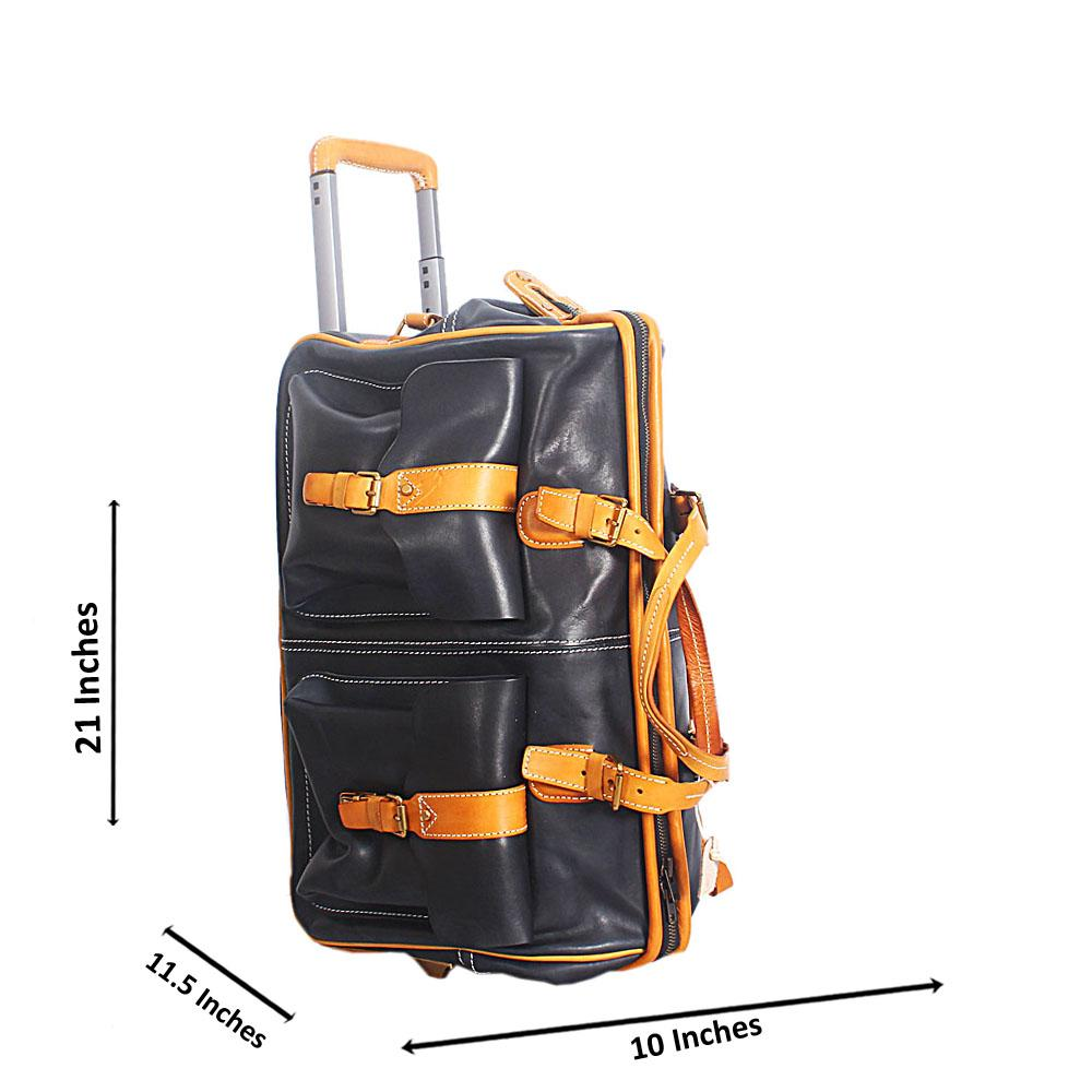 Black and Brown Italian Leather Carry on Trolley Bag