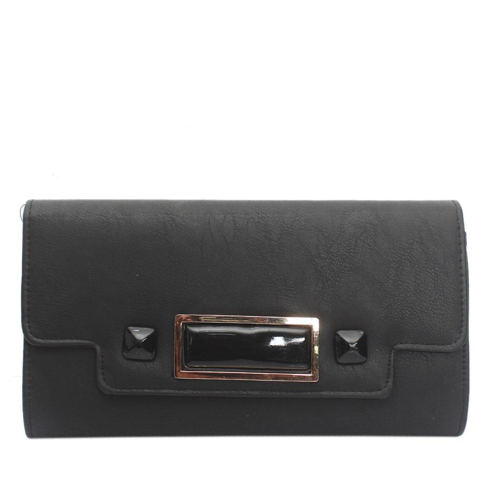 Black Selene Leather Flat Purse