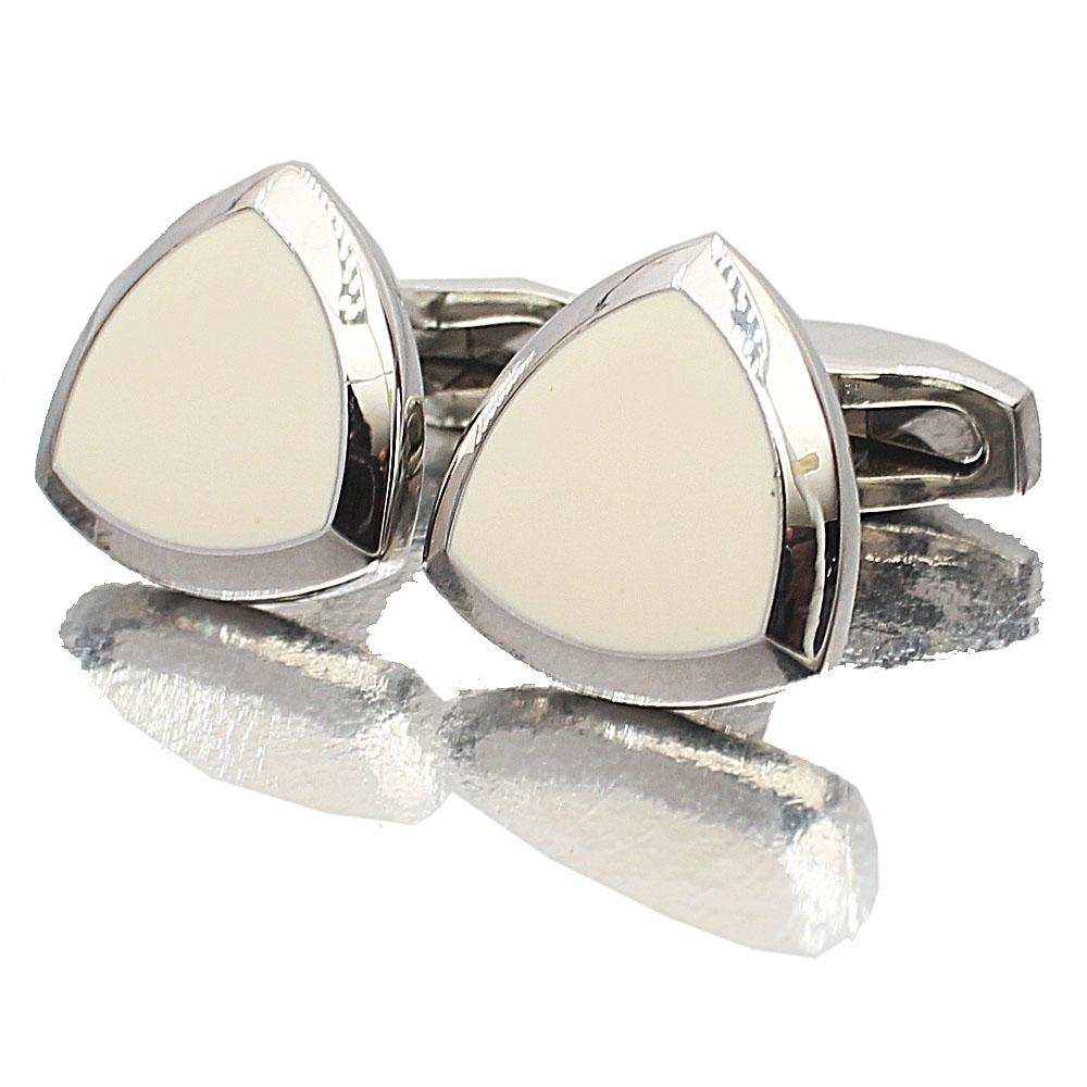 Silver White Shield Stainless Steel Cufflinks
