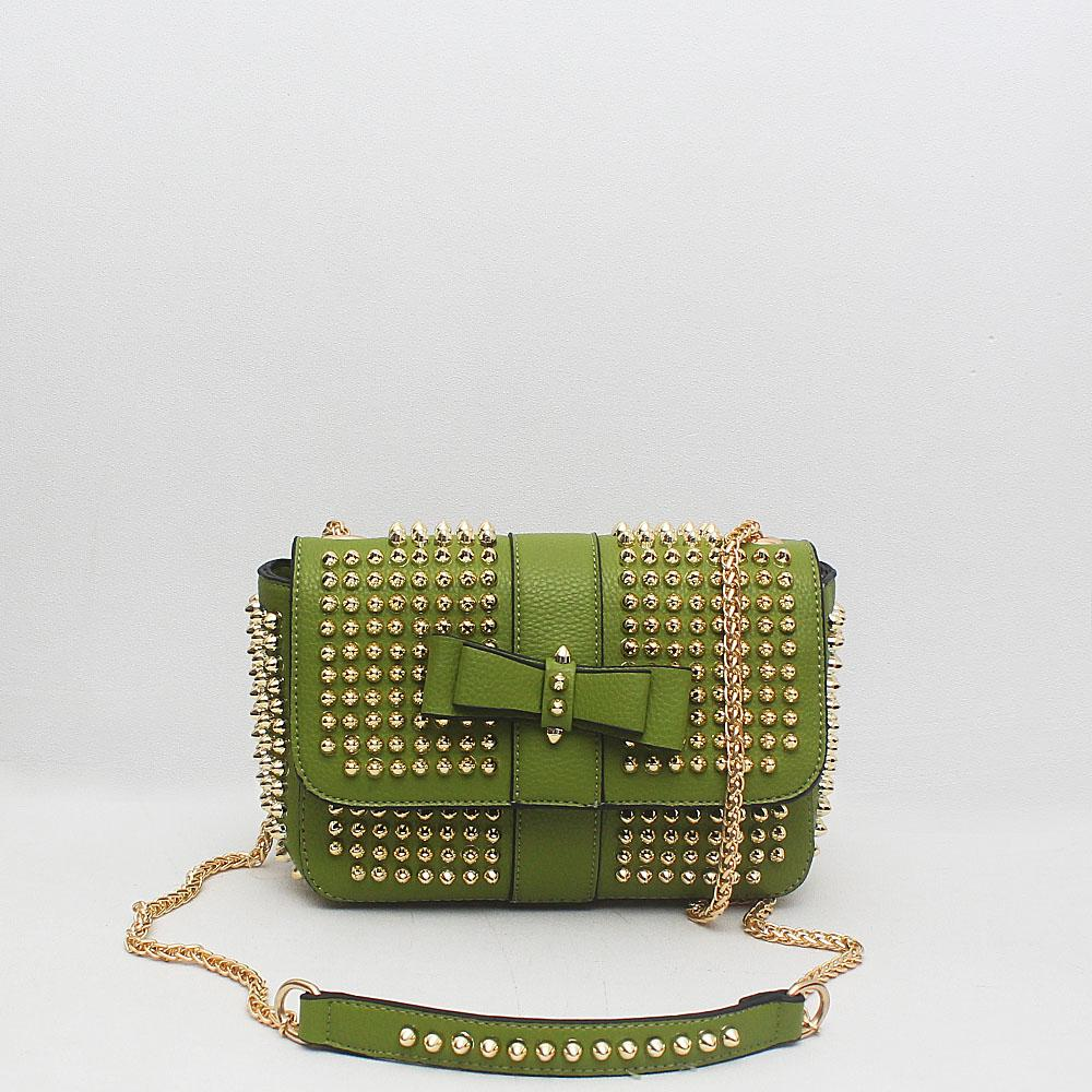 Pastel Green Leather Small Studded Cross Body Bag