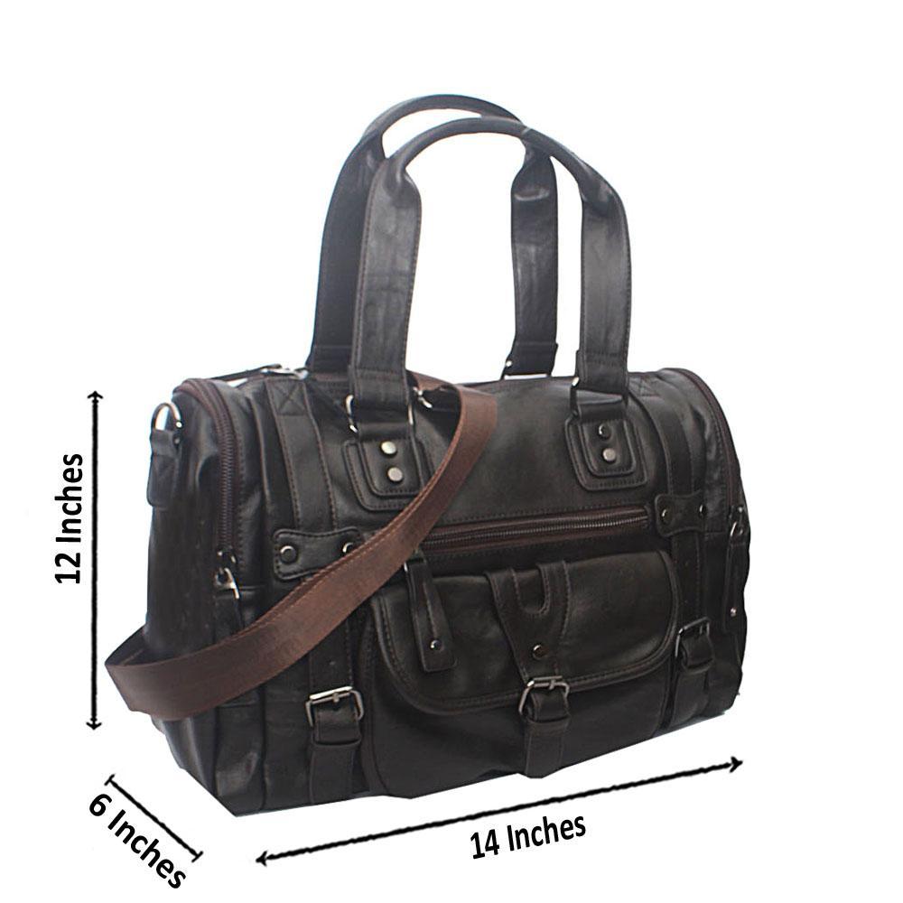 Casania Coffee Buckle Clip Overnight Travel Bag