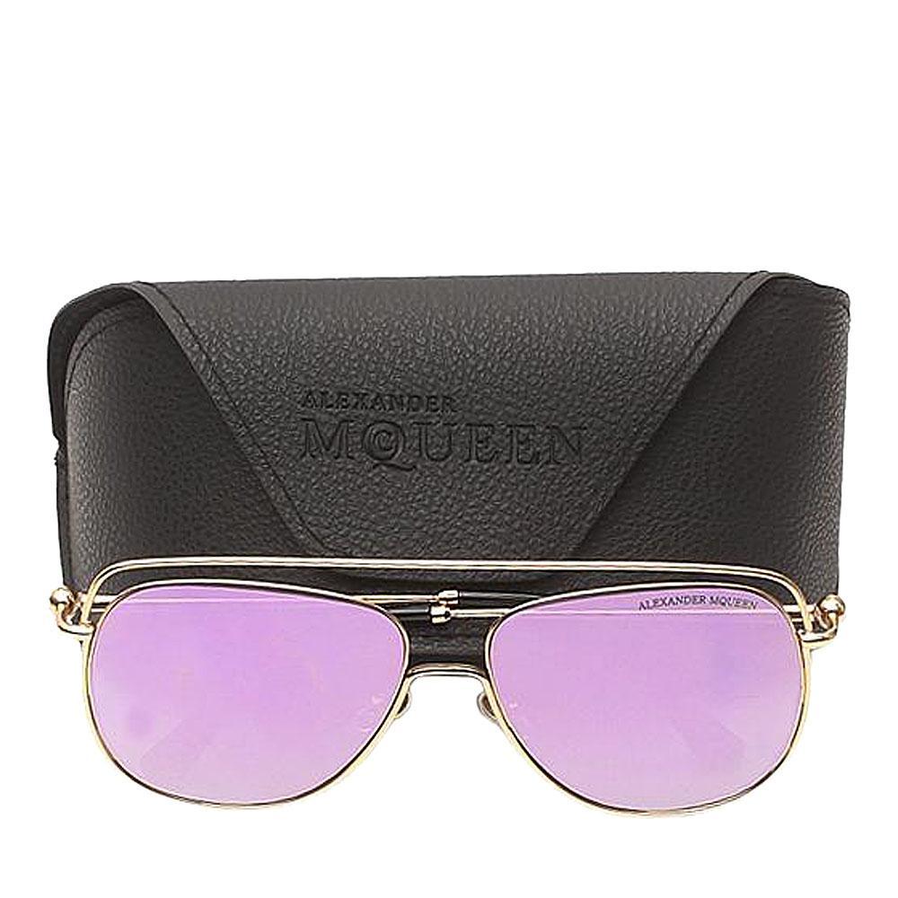 Alexander McQueen Rose Gold Pink Reflective Sunglasses-