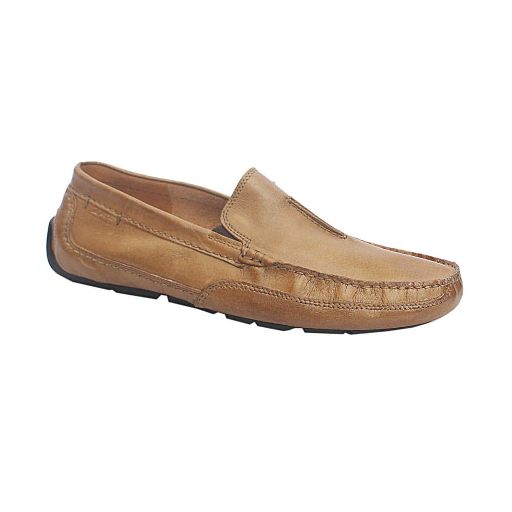 Clarks Ortholite Camel Brown Leather Loafers