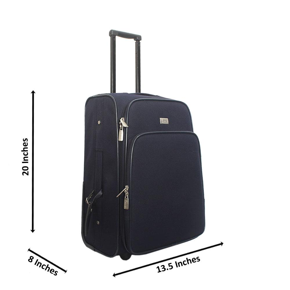 Harrods Navy 20 Inch Fabric 2 Wheels Carry On Luggage Wt Lock