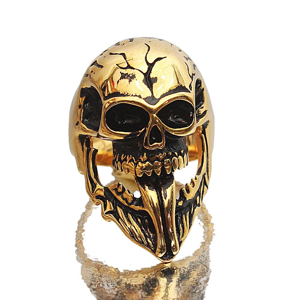 Gold Steel Skull Ghost Rider Ring
