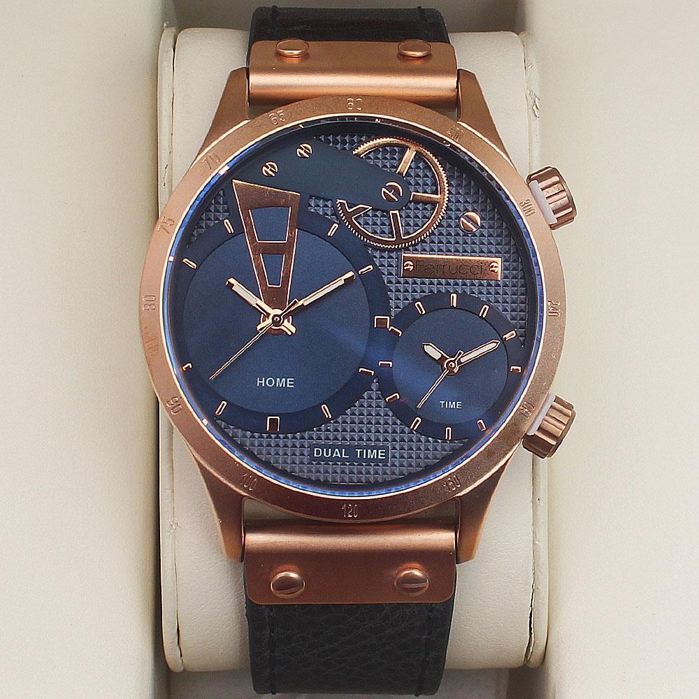 Ferrucci Multifunction Fashion Watch wt Navy Leather Strap