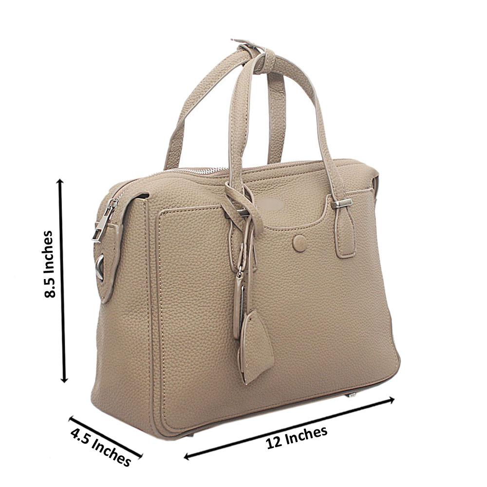 Khaki Calfskin Leather Medium Handbag