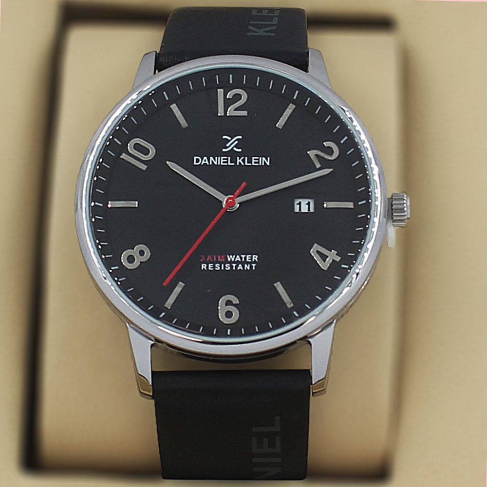Daniel Klein Olympus Black Silver Steel Leather Classic Series Watch