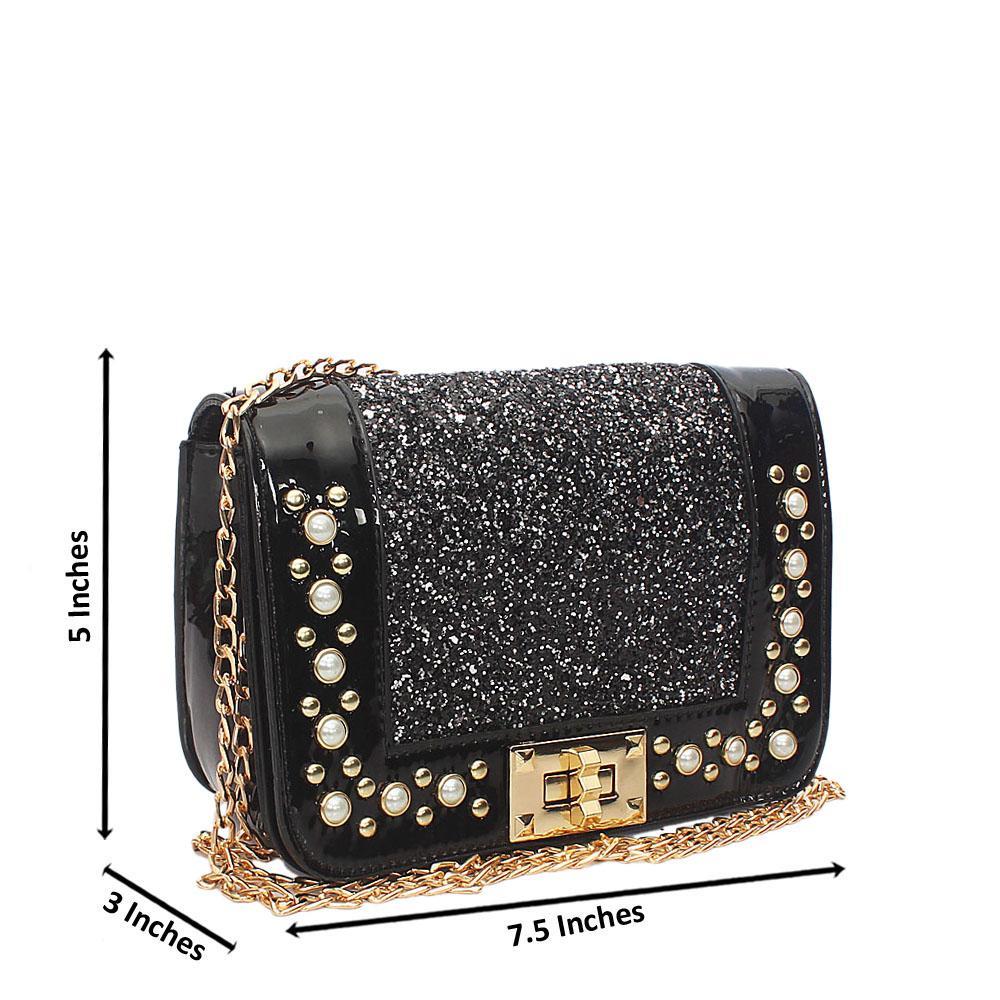 Black Pearl Glitz Patent Leather Mini Shoulder Handbag