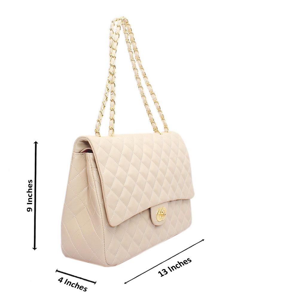 Khaki Leather Large Crossbody Bag
