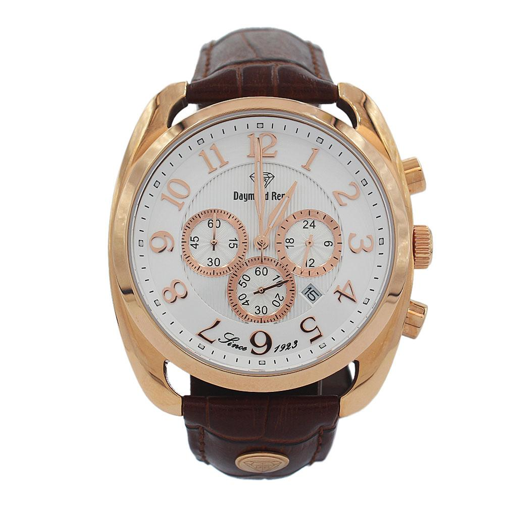 DR 10ATM Rose Gold Brown Leather Chronograph Watch