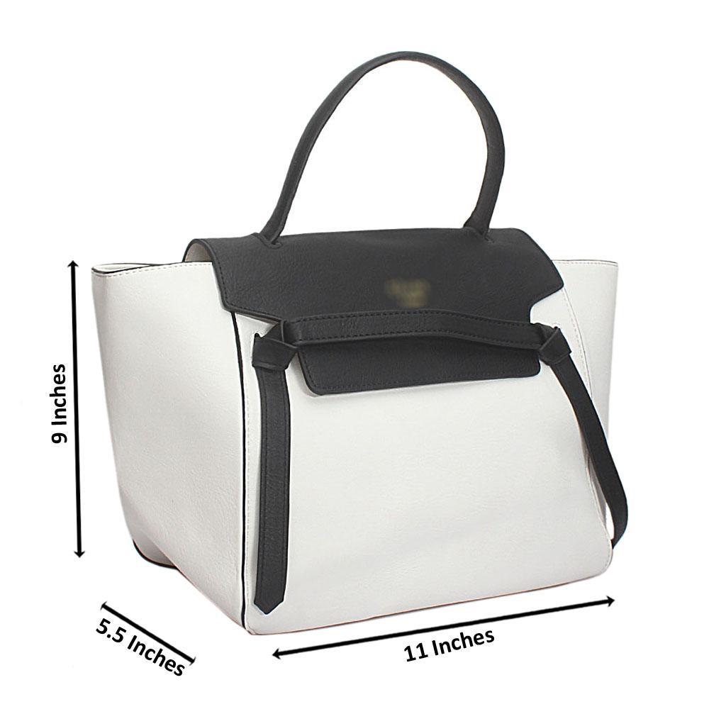 Black White Leather Medium Belt Handbag