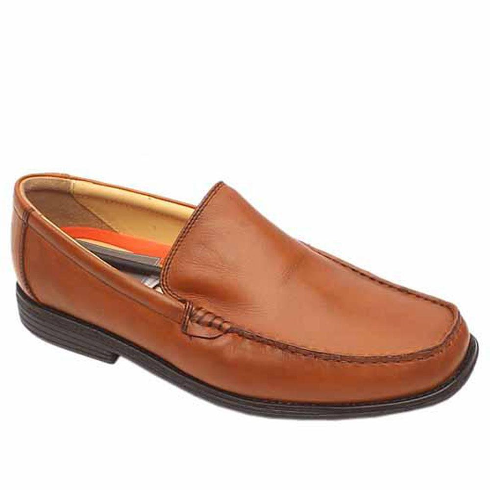 Air flex Brown Leather Slip On Men Shoe-Sz 42.5