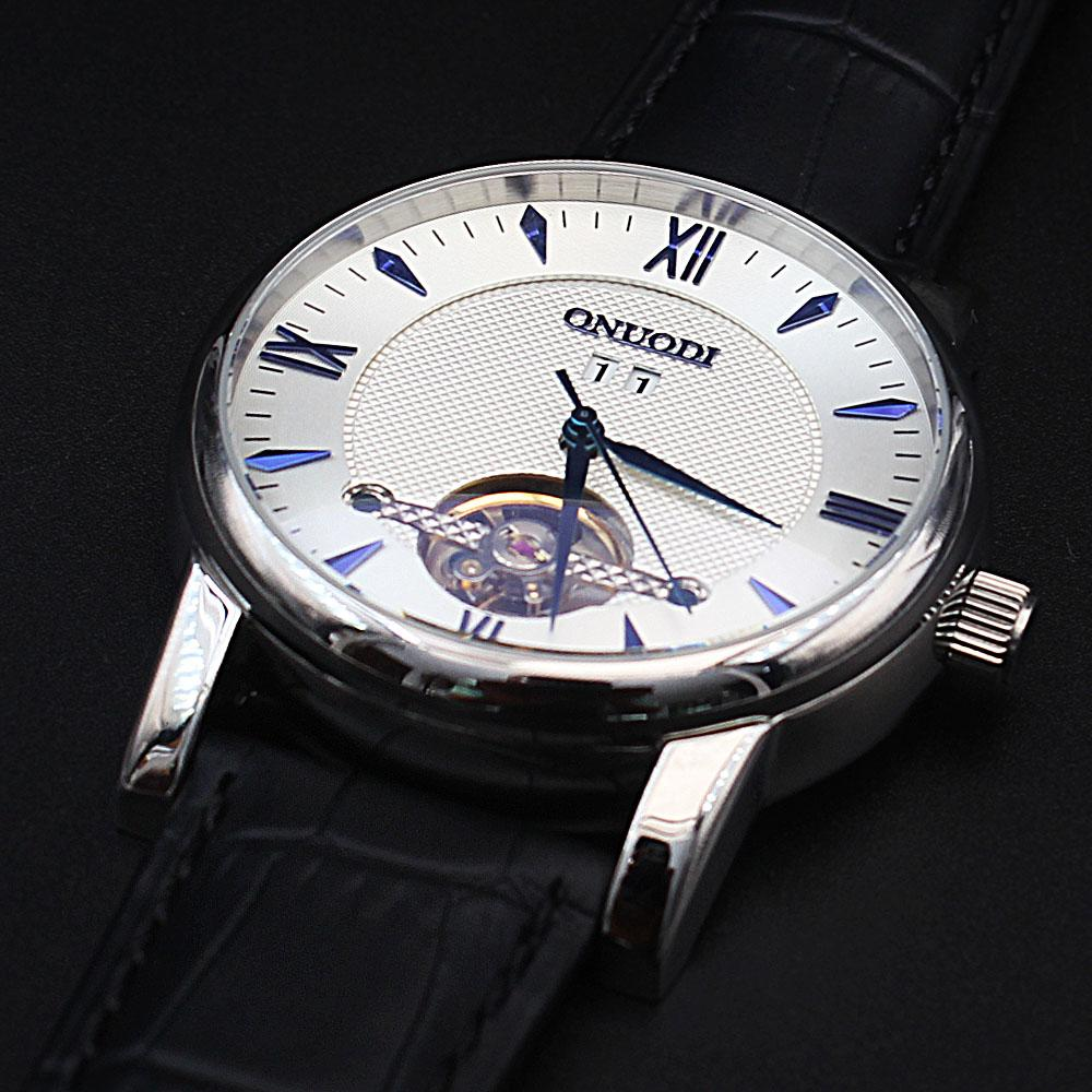 Shanghai Nudi  BlacSteel Blue Black Leather Automatic Roman Watch