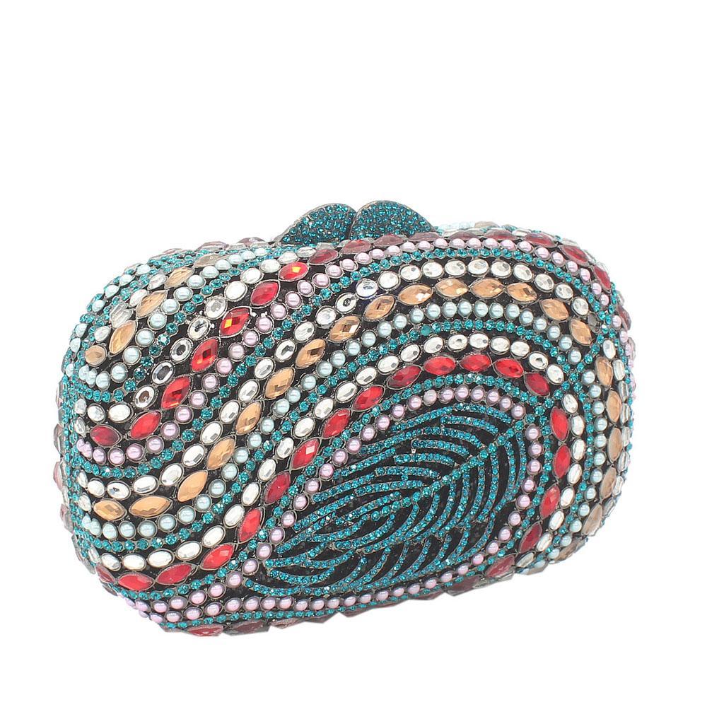 Green Multicolor Diamante Crystal Clutch Purse